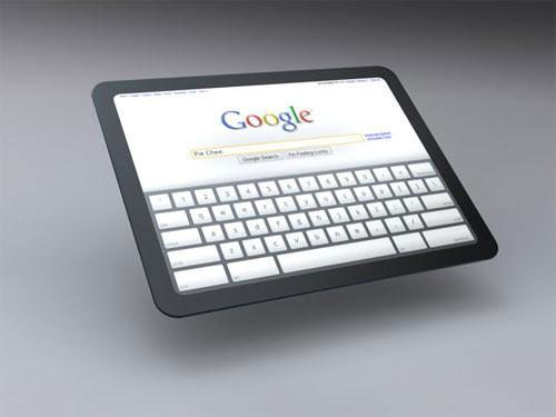 Google Tablet PC with Google Search home page opened