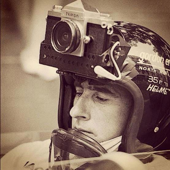 Jackie Stewart with a camera fixed on his helmet
