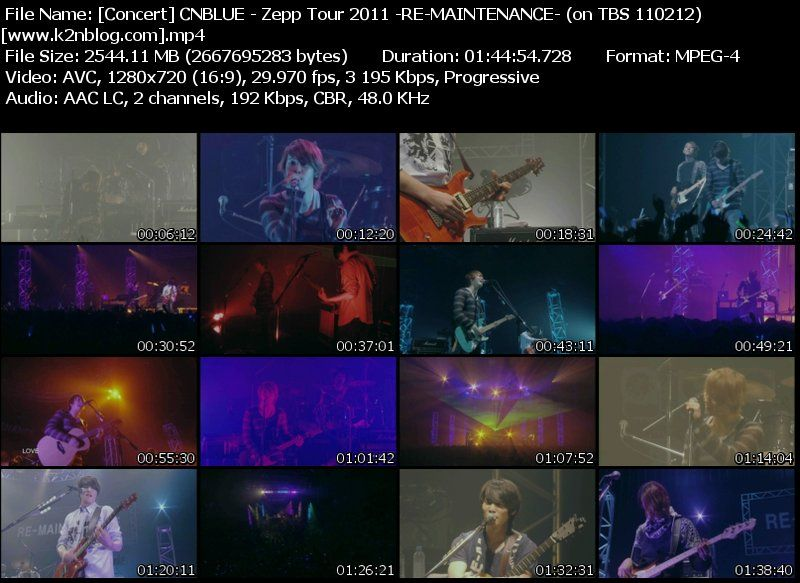 [Concert] CN BLUE – Zepp Tour 2011 ~RE MAINTENANCE~ (on TBS broadcast 110212) [HD 720p]